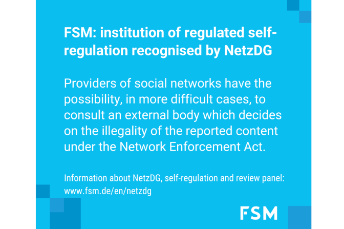 FSM's role of self-regulation under the German Network Enforcement Act